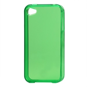 Glossy TPU Gel Case for iPhone 4 4S - Translucent Green