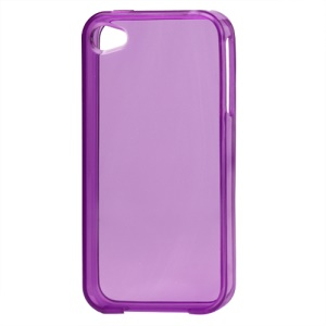 Glossy TPU Gel Case for iPhone 4 4S - Translucent Purple