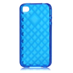 Water Cube TPU Gel Case for iPhone 4 4S - Translucent Blue