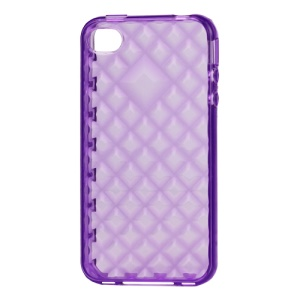 Water Cube TPU Gel Case for iPhone 4 4S - Translucent Purple