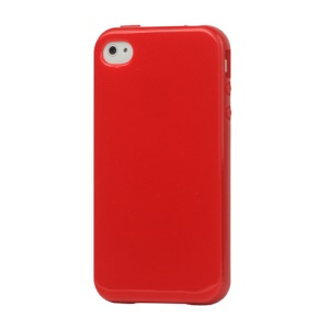 Lustrous TPU Case for iPhone 4 CDMA iPhone 4S - Red