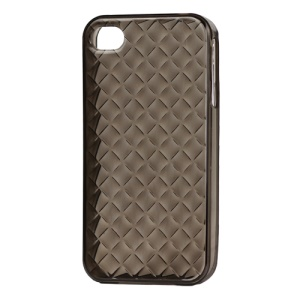 Woven Pattern TPU Case for iPhone 4 4S - Translucent Grey