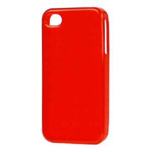 Woven Pattern TPU Case for iPhone 4 4S - Red