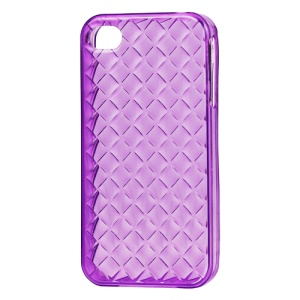 Woven Pattern TPU Case for iPhone 4 4S - Translucent Purple