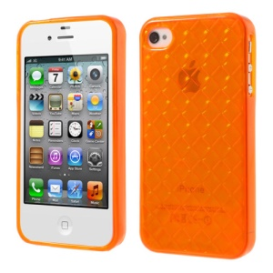 Diagonal Plaid Pattern Soft TPU Shell for iPhone 4 4S - Orange