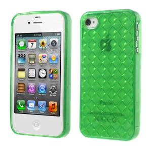 Diagonal Plaid Pattern TPU Gel Shell for iPhone 4 4S - Green