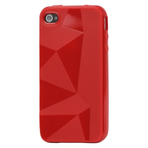 Stylish Three-dimensional TPU Gel Case for iPhone 4 4S - Red