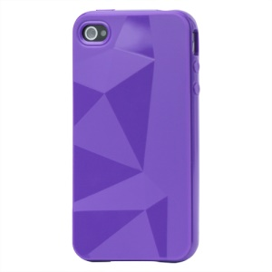 Stylish Three-dimensional TPU Gel Case for iPhone 4 4S - Purple