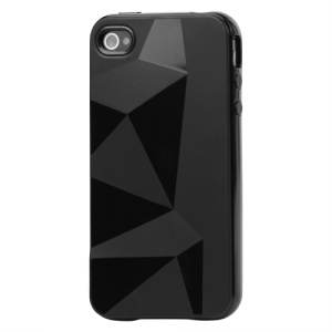Stylish Three-dimensional TPU Gel Case for iPhone 4 4S - Black