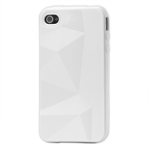 Stylish Three-dimensional TPU Gel Case for iPhone 4 4S - White