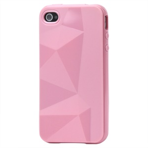 Stylish Three-dimensional TPU Gel Case for iPhone 4 4S - Pink