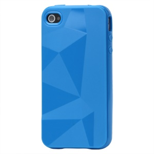 Stylish Three-dimensional TPU Gel Case for iPhone 4 4S - Blue