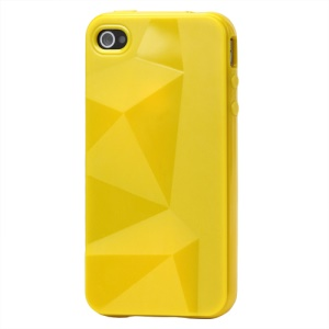 Stylish Three-dimensional TPU Case for iPhone 4 4S - Yellow