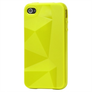 Stylish Three-dimensional TPU Gel Case for iPhone 4 4S - Sulfur Yellow