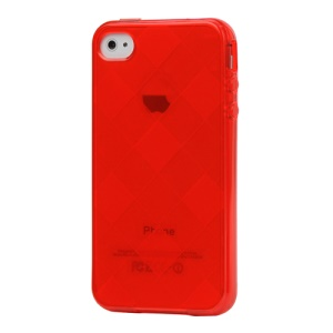 Clear Grid TPU Gel Case for iPhone 4 4S - Red