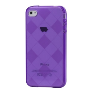 Clear Grid TPU Gel Case for iPhone 4 4S - Purple