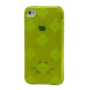 Clear Grid TPU Gel Case for iPhone 4 4S - Yellow