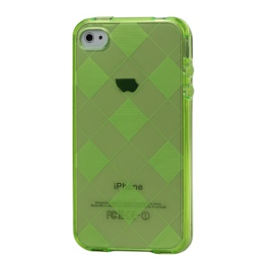 Clear Grid TPU Gel Case for iPhone 4 4S - Green