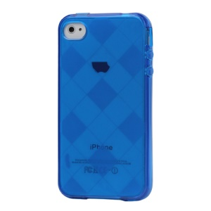 Clear Grid TPU Gel Case for iPhone 4 4S - Blue