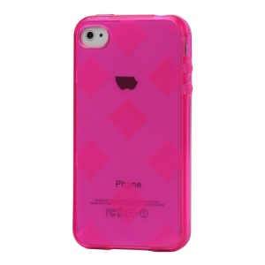 Clear Grid TPU Gel Case for iPhone 4 4S - Rose