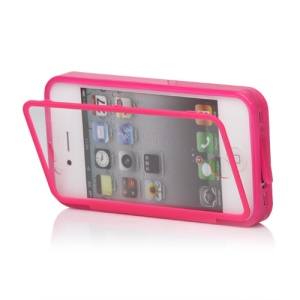 Folio Style iPhone 4 4S TPU Case Cover Front and Back - Rose