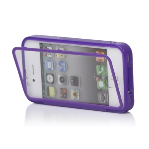 Folio Style iPhone 4 4S TPU Case Cover Front and Back - Purple