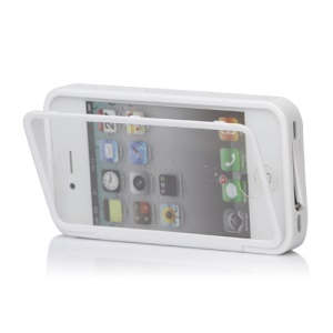 Folio Style iPhone 4 4S TPU Case Cover Front and Back - White