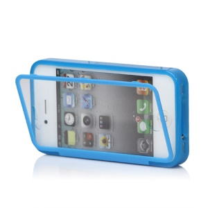Folio Style iPhone 4 4S TPU Case Cover Front and Back - Blue