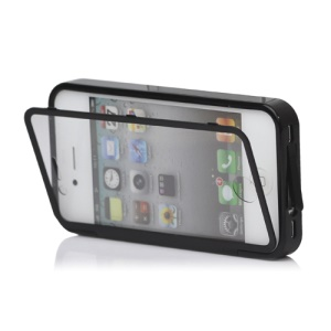 Folio Style iPhone 4 4S TPU Case Cover Front and Back - Black