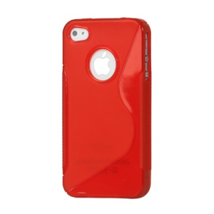 S Shape TPU Gel Case Cover for iPhone 4 4S - Red