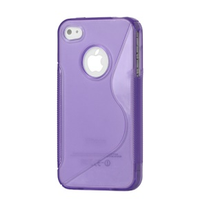 S Shape TPU Gel Case Cover for iPhone 4 4S - Purple