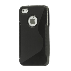 S Shape TPU Gel Case Cover for iPhone 4 4S - Black