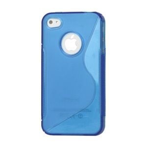 S Shape TPU Gel Case Cover for iPhone 4 4S - Blue