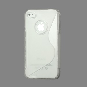 S Shape TPU Gel Case Cover for iPhone 4 4S - Transparent