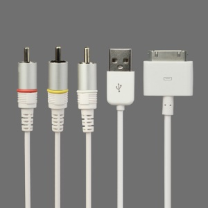 Composite AV Video to TV RCA Cable USB Charger for iPad 3rd Generation iPad 2 iPhone 4S iPod