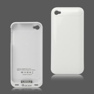 1600mAh External Backup Battery Charger Case with FM Transmitter for iPhone 4 4S - White