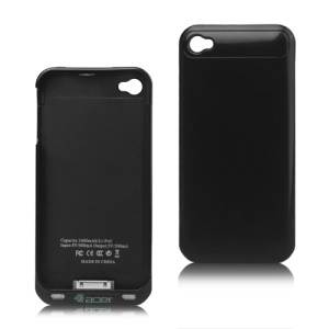 1600mAh External Backup Battery Charger Case with FM Transmitter for iPhone 4 4S - Black