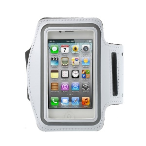 Gym Running Sport Armband Case Cover for iPhone 4 4S - White