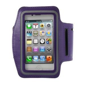 Gym Running Sport Armband Case Pouch for iPhone 4 4S - Dark Purple