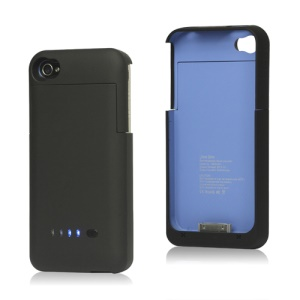 Detachable External Battery Case Power Bank for iPhone 4S 4 1900mAh Crystal Box - Black / Blue