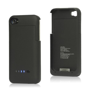 Detachable External Battery Case Charger for iPhone 4S 4 1900mAh Crystal Box - Black