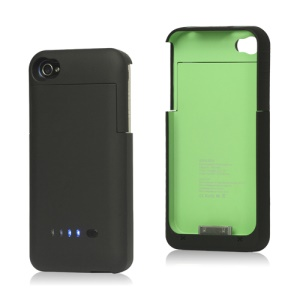 Detachable External Battery Charger Case for iPhone 4S 4 1900mAh Crystal Box - Black / Green