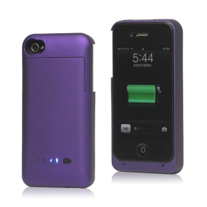 Detachable External Battery Case Power Bank for iPhone 4S 4 1900mAh Crystal box - Purple