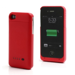Detachable External Battery Case Power Bank for iPhone 4S 4 1900mAh Crystal box - Red