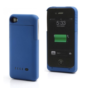 Detachable External Battery Case Power Bank for iPhone 4S 4 1900mAh Crystal box - Blue