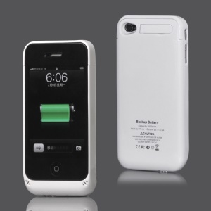 Glossy Sliding iPhone 4 4S Backup Battery Charger Case with Stand 1500mAh