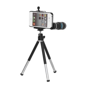 12X Optical Zoom Telephoto Telescope Camera Lens with Tripod Stand for iPhone 4 4S