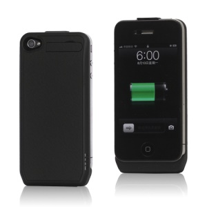 1800mAh Ultra-thin Lichee Pattern iPhone 4 4S External Battery Power Case with Stand - Black