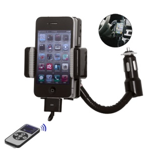 FM Radio Transmitter Car Charger with Controller for iPhone 4 4S 3G 3GS iPod