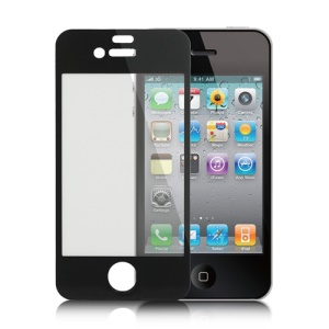 Tempered Glass Screen Cover Shield Protector for iPhone 4 4S - Black